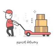Vector l'illustrazione creativa dell'uomo felice della consegna in unifor rosso immagine stock libera da diritti