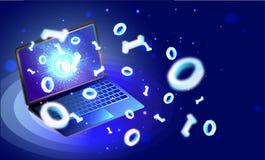Vector l'illustrazione 3D del computer portatile con le cifre binarie 0,1 sullo shi Fotografia Stock