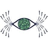 Vector l'illustrazione decorativa ornamentale nera e verde dell'occhio umano con i cigli illustrazione vettoriale