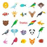 Vector l'illustrazione degli animali tropicali degli uccelli e pescato l'icona Immagini Stock