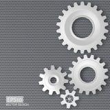Vector l'illustrazione degli ingranaggi con sull'ingranaggio su meta perforato Fotografia Stock