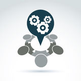 Vector l'illustrazione degli ingranaggi - il tema del sistema di impresa, organiza Immagini Stock