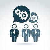 Vector l'illustrazione degli ingranaggi, il tema del sistema di impresa, organiza Immagini Stock