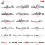 Vector l'illustrazione degli orizzonti canadesi della città in bianco e nero tinge la tavolozza di colore illustrazione vettoriale