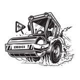 Vector l'illustrazione degli schiacciasassi con fumo sotto le ruote illustrazione vettoriale
