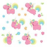 Vector l'illustrazione degli unicorni rosa svegli nelle pose differenti Fotografia Stock Libera da Diritti
