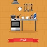 Vector l'illustrazione degli utensili della cucina e della stufa nello stile piano Fotografia Stock Libera da Diritti