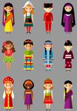 Vector l'illustrazione dei bambini nazionali multiculturali, la gente in costumi tradizionali Immagini Stock Libere da Diritti