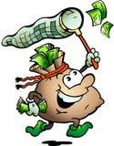 Vector l'illustrazione dei contanti di caccia del sacco dei soldi Fotografia Stock
