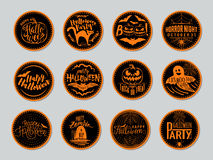 Vector l'illustrazione dei distintivi di Halloween e progetti gli elementi con i simboli Fotografie Stock Libere da Diritti