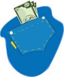 Vector l'illustrazione dei dollari americani nella tasca delle blue jeans Fotografia Stock