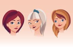 Vector l'illustrazione dei fronti delle ragazze con differenti acconciature, colori dei capelli illustrazione di stock