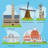 Vector l'illustrazione dei monumenti e dei punti di riferimento nel volume di Europa 3 Fotografie Stock Libere da Diritti