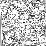 Vector l'illustrazione dei mostri e di disegnato a mano amichevole e sveglio straniero sveglio Fotografia Stock Libera da Diritti