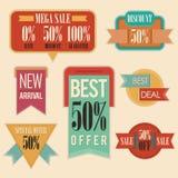 Retro segni dell'annuncio pubblicitario di vendita Fotografia Stock