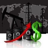 Vector l'illustrazione del barile da olio con la freccia rossa Fotografia Stock Libera da Diritti