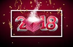 Vector l'illustrazione 2018 del buon anno con il contenitore di regalo ed il numero 3d su fondo rosso brillante Progettazione di  Immagini Stock Libere da Diritti