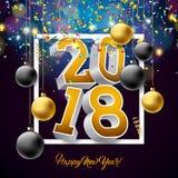 Vector l'illustrazione 2018 del buon anno con il numero 3d, i coriandoli di caduta e la palla dell'ornamentale su fondo brillante Fotografie Stock