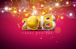 Vector l'illustrazione 2018 del buon anno su fondo rosso brillante con il numero 3d, la palla di vetro e la ghirlanda leggera fes Fotografie Stock