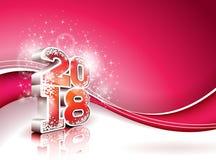 Vector l'illustrazione 2018 del buon anno su fondo rosso brillante con il numero 3d Progettazione di festa per la cartolina d'aug Fotografie Stock Libere da Diritti