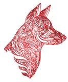 Vector l'illustrazione del cane con un modello scolpito per il vostro creati Immagini Stock