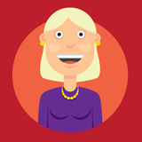 Vector l'illustrazione del carattere una donna sorridente con capelli biondi in vestito nel buon umore sul backgro rosso rotondo illustrazione di stock