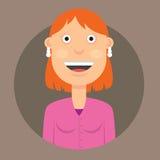 Vector l'illustrazione del carattere una donna sorridente con capelli rossi in vestito Fotografie Stock Libere da Diritti