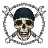 Vector l'illustrazione del cranio umano in black hat con due chiavi e chaun attraversati Cranio di vettore con la chiave Fotografia Stock Libera da Diritti