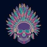 Vector l'illustrazione del cranio umano nel copricapo del capo indiano del nativo americano Illustrazione di Stock