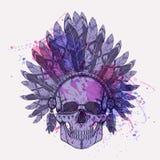 Vector l'illustrazione del cranio umano nel copricapo del nativo americano Illustrazione di Stock
