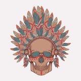 Vector l'illustrazione del cranio umano nell'indiano del nativo americano Illustrazione Vettoriale