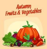 Vector l'illustrazione del fondo della frutta e della verdura di stagione di caduta di autunno di combinazione del fumetto illustrazione vettoriale