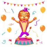 Vector l'illustrazione del fondo della prestazione del circo con il leone sveglio Immagini Stock