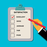 Vector l'illustrazione del formulario di valutazione della soddisfazione nello stile piano per il web immagini stock