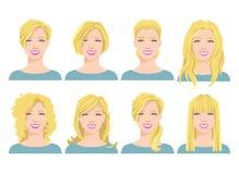 Vector l'illustrazione del fronte del ` s della giovane donna con stile di capelli differente Immagini Stock