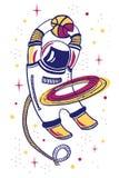 Vector l'illustrazione del fumetto con asronaut che gioca la pallacanestro nello spazio con l'anello del pianeta illustrazione vettoriale