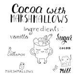 Vector l'illustrazione del fumetto con il cacao caldo molle della bevanda con la caramella gommosa e molle Tazza disegnata a mano Fotografia Stock Libera da Diritti