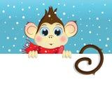 Vector l'illustrazione del fumetto di una scimmia del bambino che tiene un'insegna bianca orizzontale Fotografie Stock Libere da Diritti