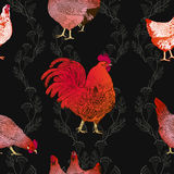 Vector l'illustrazione del gallo e galline, un simbolo di 2017 sul calendario cinese illustrazione di stock