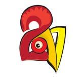 Vector l'illustrazione del gallo, il simbolo 2017 sul calendario cinese Immagine Stock Libera da Diritti