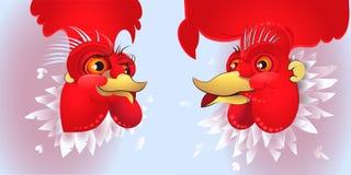 Vector l'illustrazione del gallo, il simbolo 2017 sul calendario cinese Fotografia Stock Libera da Diritti