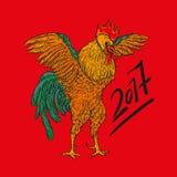 Vector l'illustrazione del gallo, il simbolo 2017 sul calendario cinese Elemento per progettazione del nuovo anno Immagini Stock Libere da Diritti