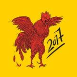 Vector l'illustrazione del gallo, il simbolo 2017 sul calendario cinese Elemento per progettazione del nuovo anno Immagine Stock