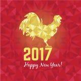 Vector l'illustrazione del gallo rosso e dorato, il simbolo 2017 sul nuovo anno cinese del calendario Gallo della siluetta, decor Fotografia Stock Libera da Diritti