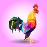 Vector l'illustrazione del gallo, un simbolo di 2017 Siluetta del gallo rosso Fotografie Stock