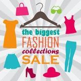 Vector l'illustrazione del gancio, dei vestiti e delle informazioni di vendita illustrazione di stock