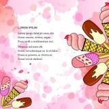 Vector l'illustrazione del gelato nel cono della cialda con vaniglia, il cioccolato, frutti con i punti rosa dell'acquerello illustrazione di stock