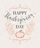 Vector l'illustrazione del giorno felice di ringraziamento, progettazione d'annata di autunno Fotografia Stock