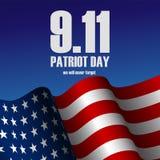 Vector l'illustrazione del giorno realistico del patriota della bandiera e del testo degli Stati Uniti d'America illustrazione vettoriale