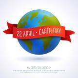 Vector l'illustrazione del globo della terra con il nastro rosso Immagini Stock